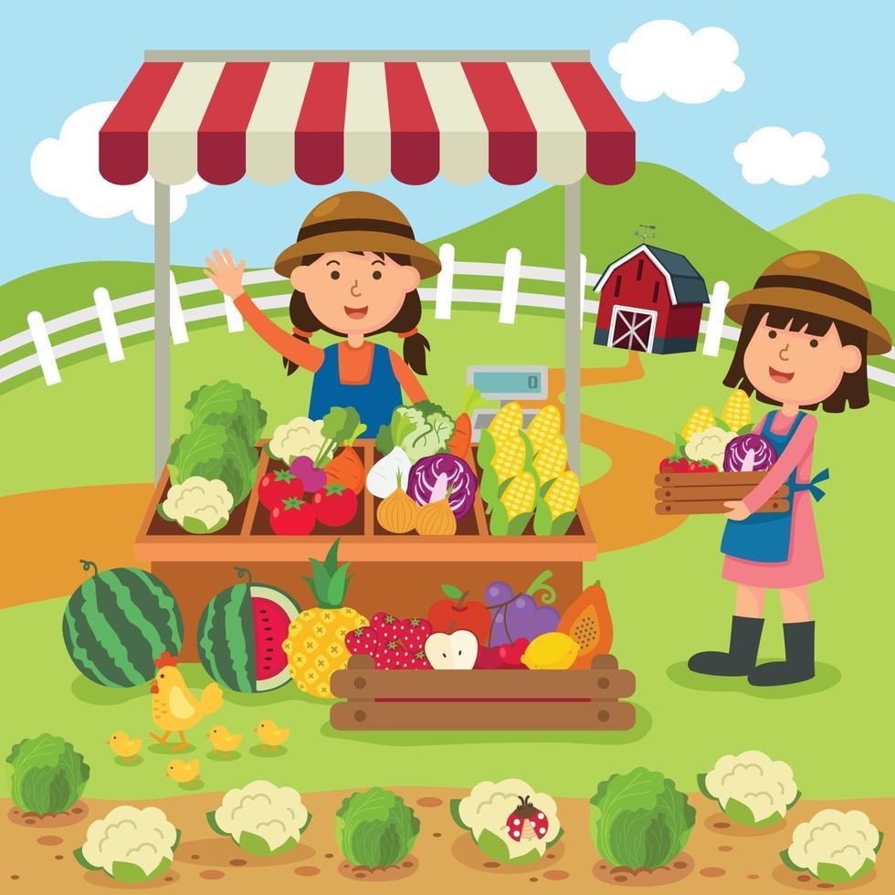 mulher vende legumes frescos e frutas, produtos caseiros vetor