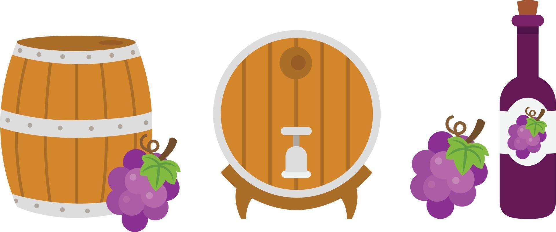 barril de madeira e garrafa de vinho. ilustração vetor