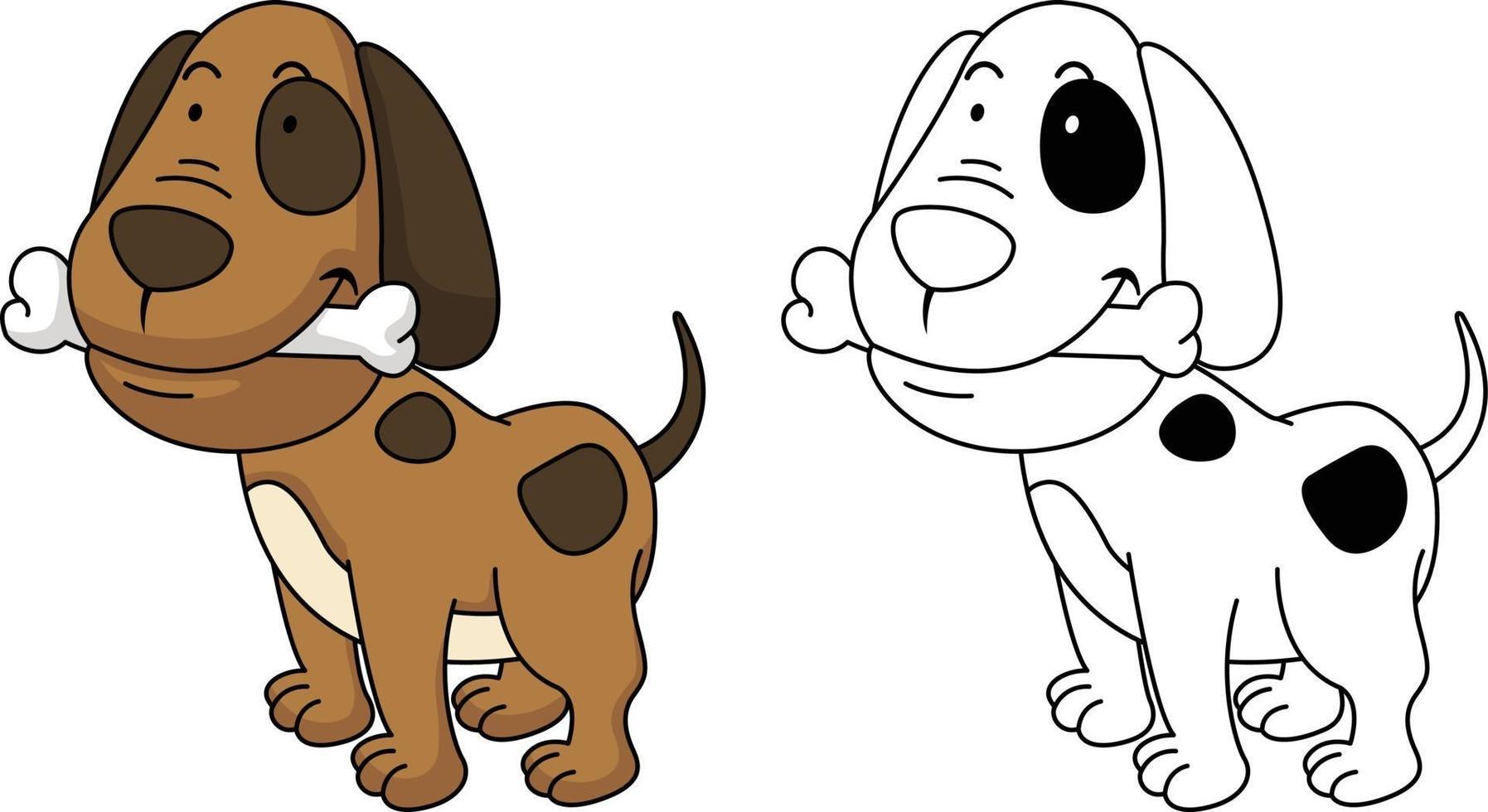 ilustração de cão livro de colorir educacional vetor