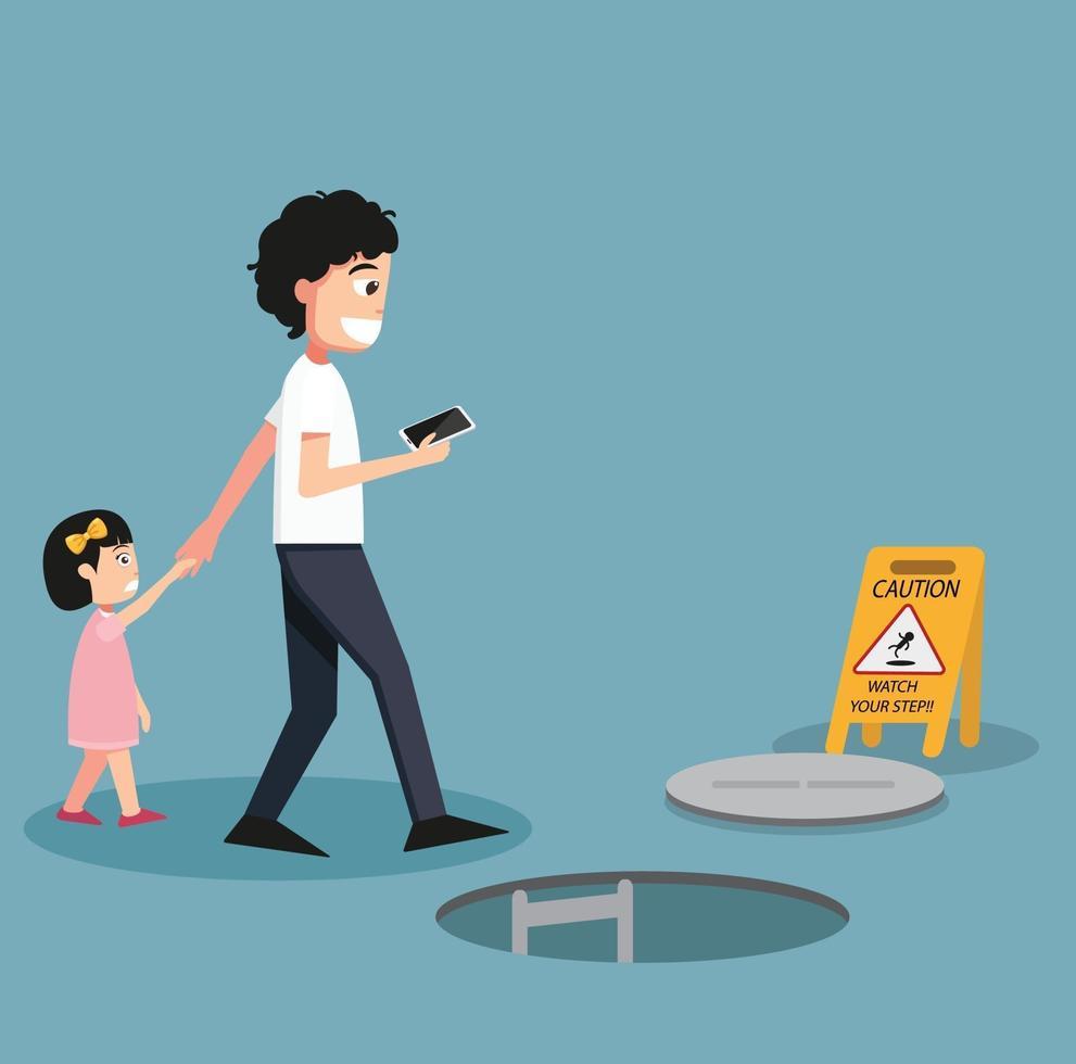 perigo de cair isolado ilustração vetorial vetor