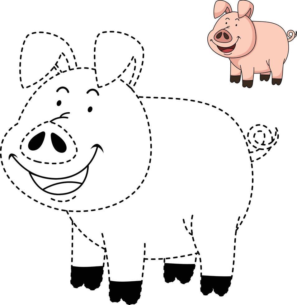 ilustração de jogo educativo para crianças e livro de colorir-porco vetor