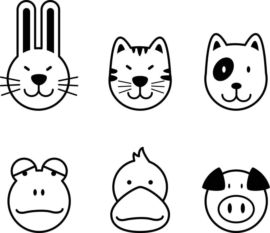 conjunto de ícone de animal vetor