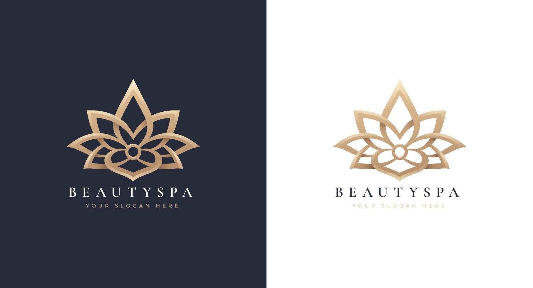 design de logotipo de lótus de luxo vetor