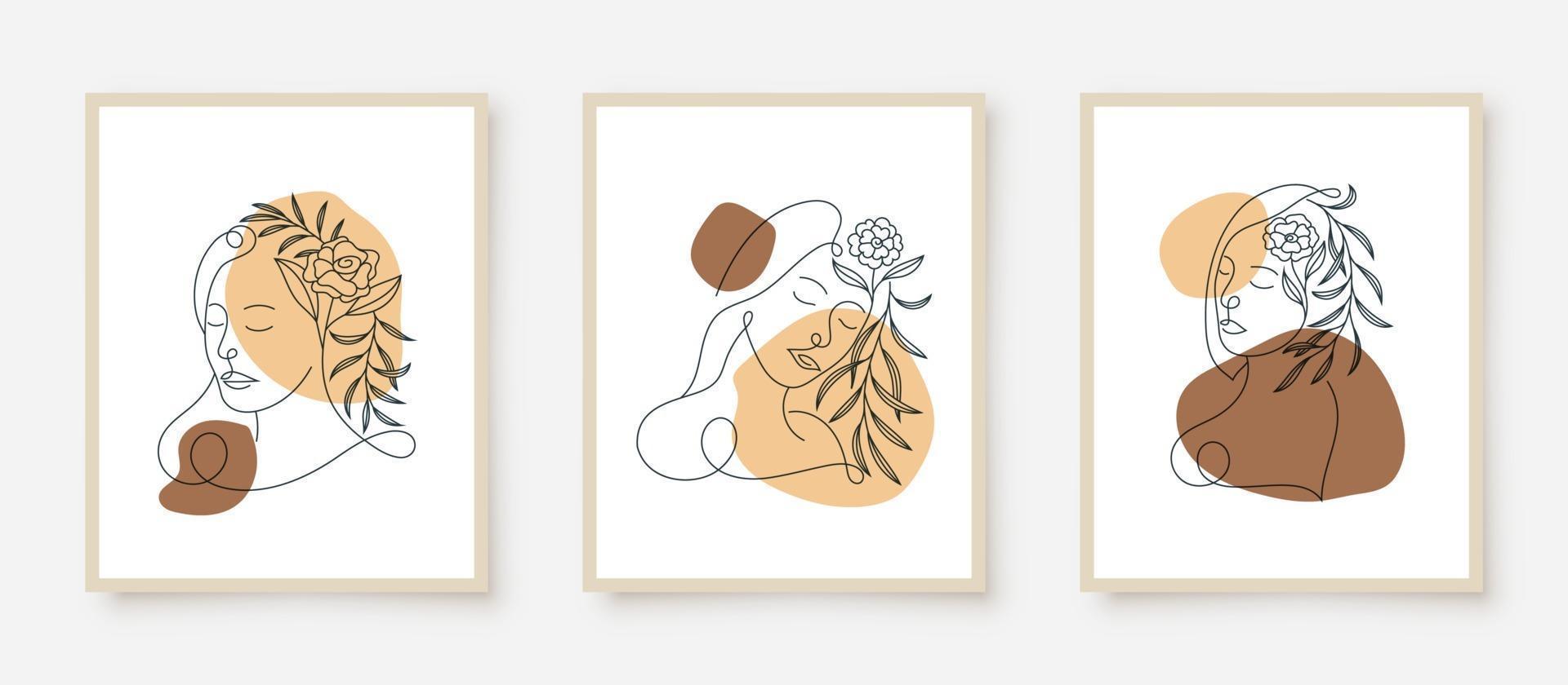 Rostos de mulher bonita em quadro floral de arte vetor