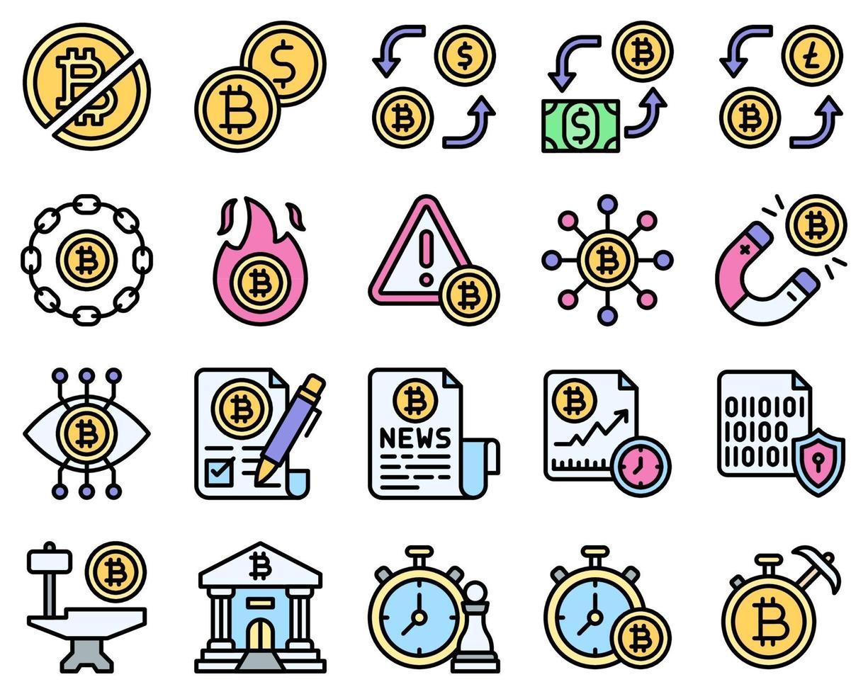 conjunto de ícones preenchidos relacionados com bitcoin e criptomoeda 2 vetor