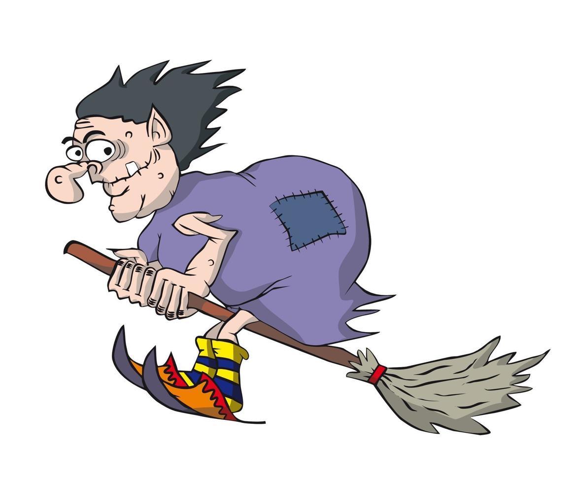 bruxa engraçada voando em uma vassoura. vetor