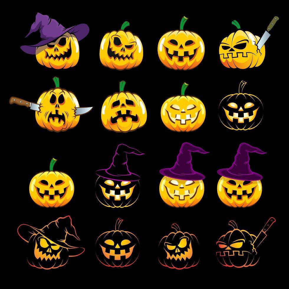 abóboras de halloween com uma emoção diferente vetor