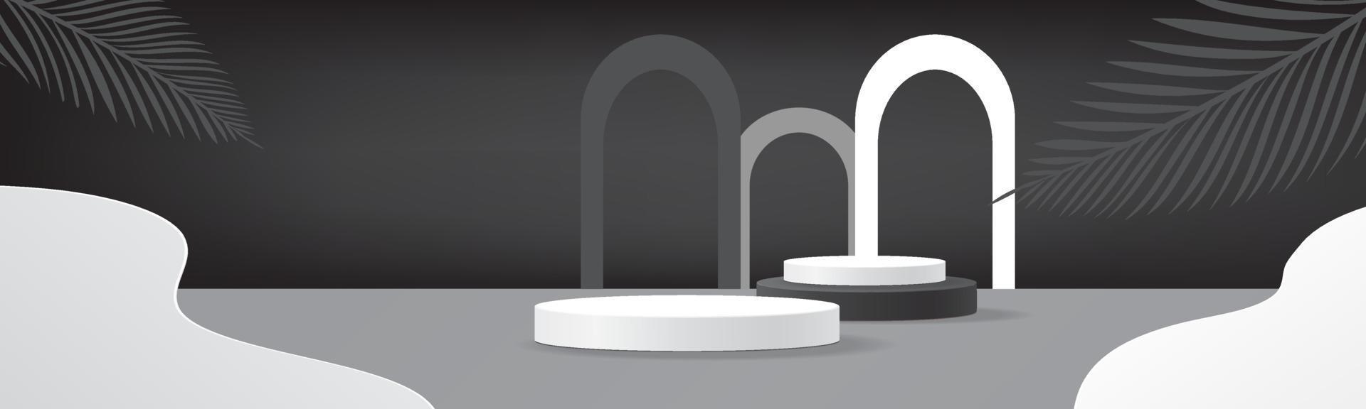 Modelo de pódio 3D abstrato preto branco produto de luxo mínimo de palco vetor