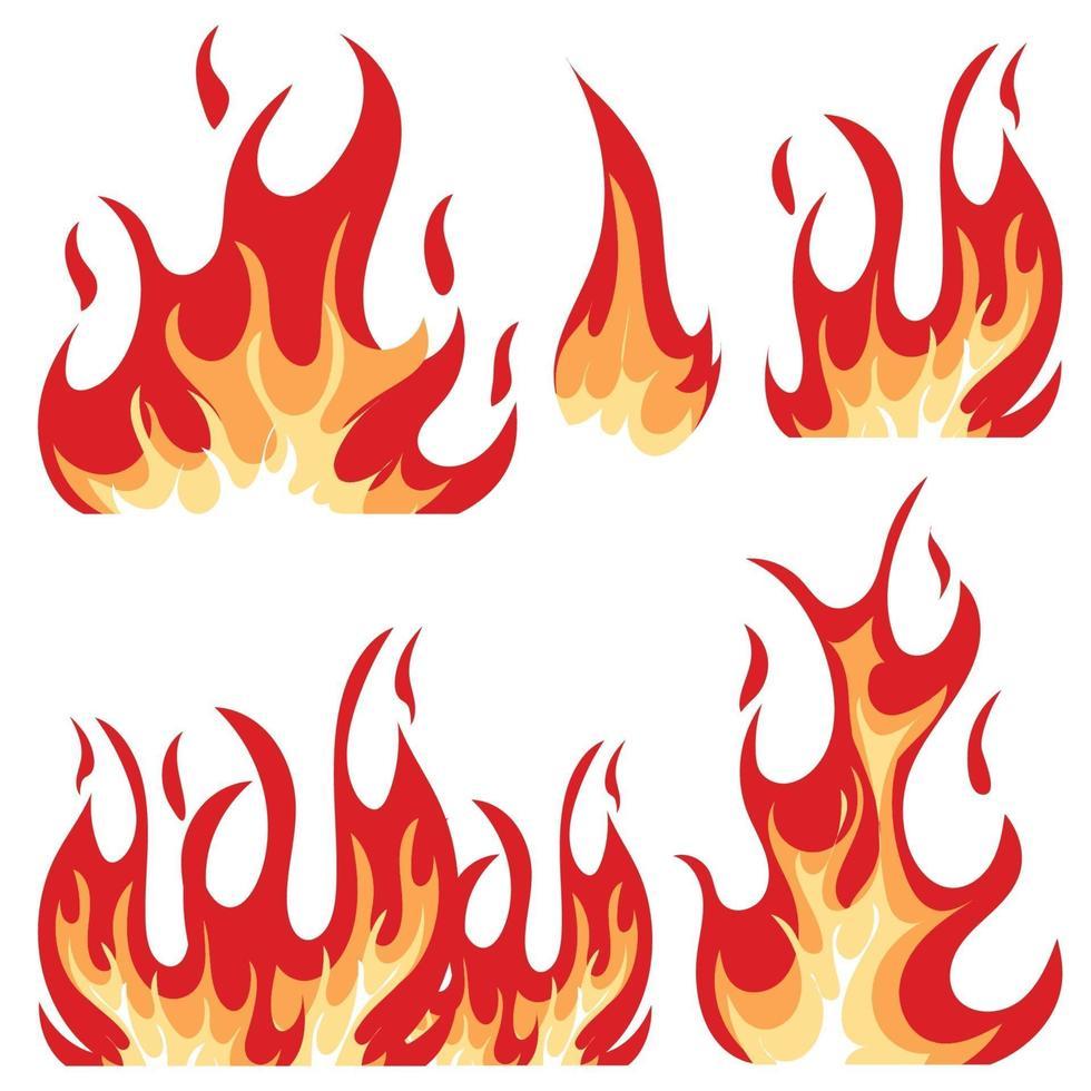 ilustração do conjunto de chamas vetor