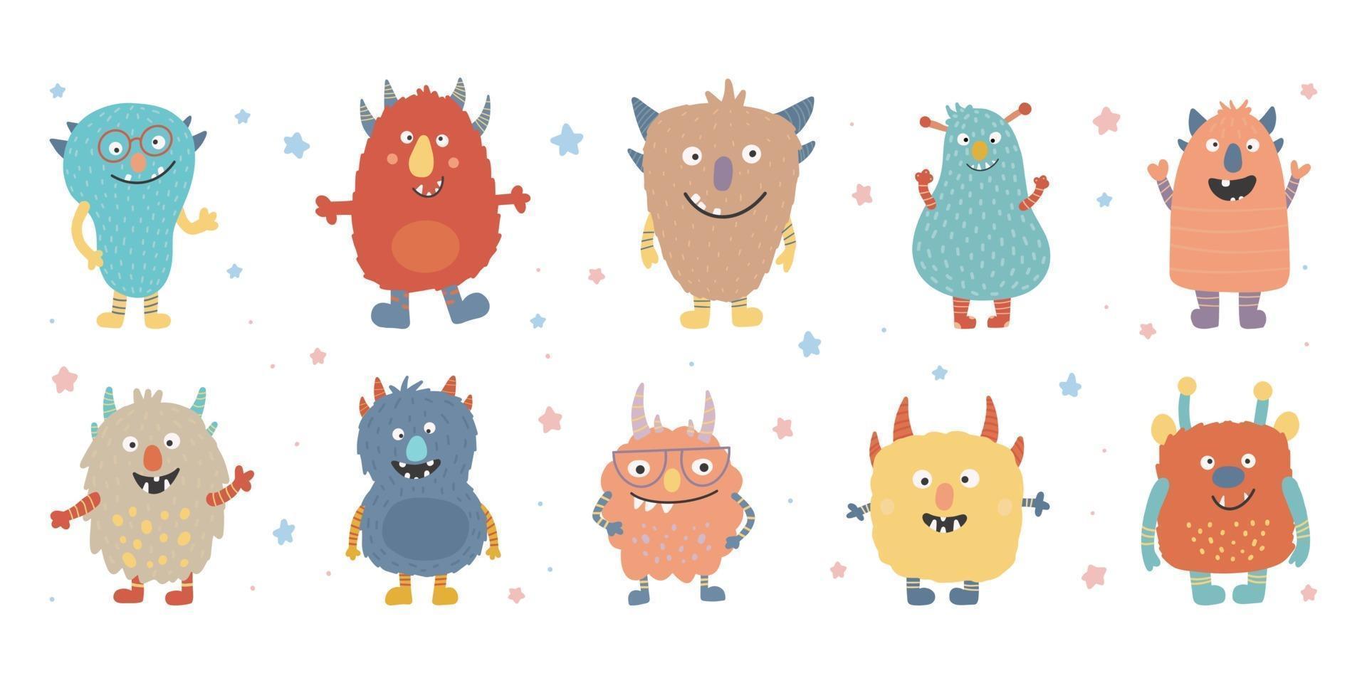 conjunto de rosto de cabeça colorida de monstro. feliz Dia das Bruxas. desenho bonito kawaii vetor