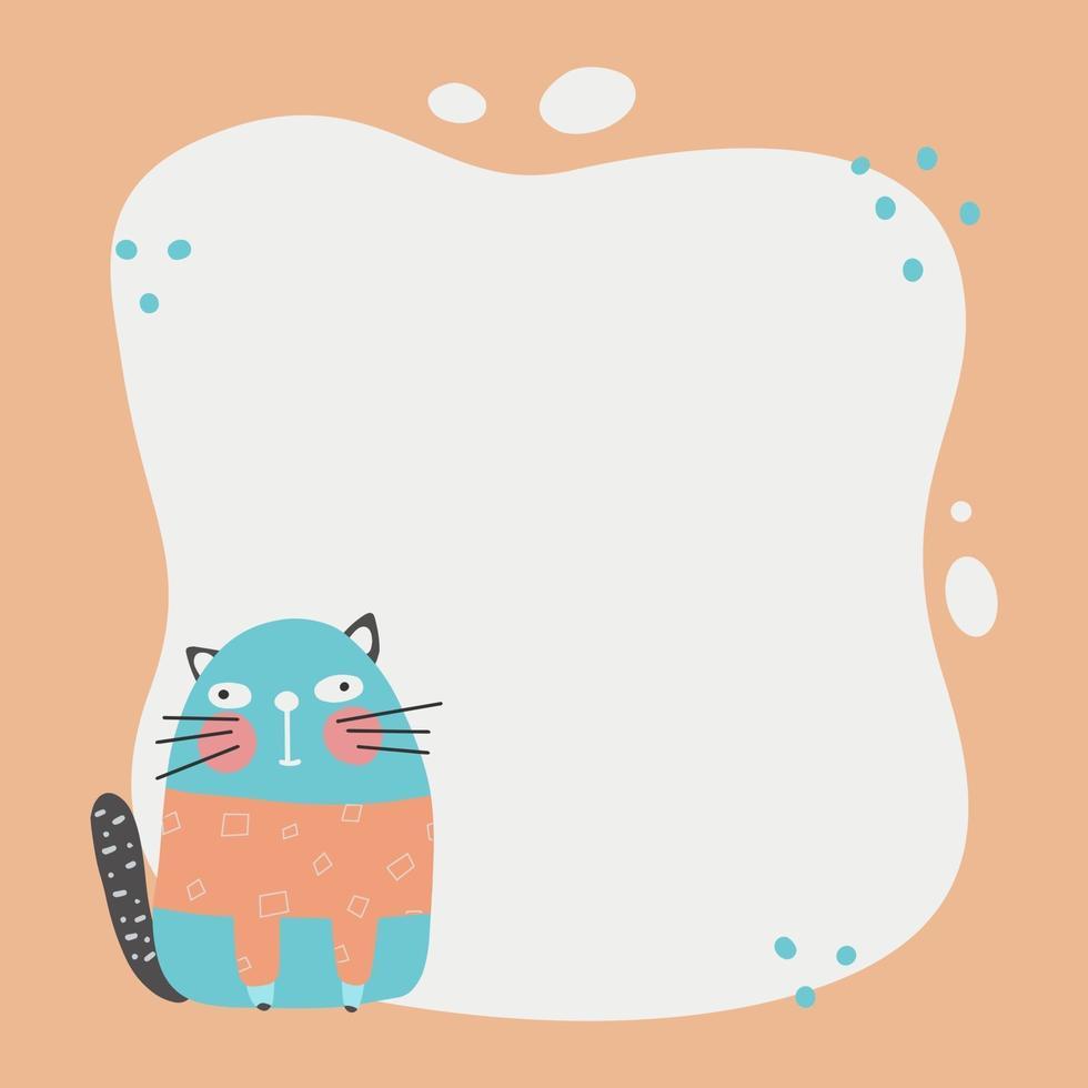 gato bonito com uma moldura de borrão no estilo simples dos desenhos animados desenhados à mão. vetor