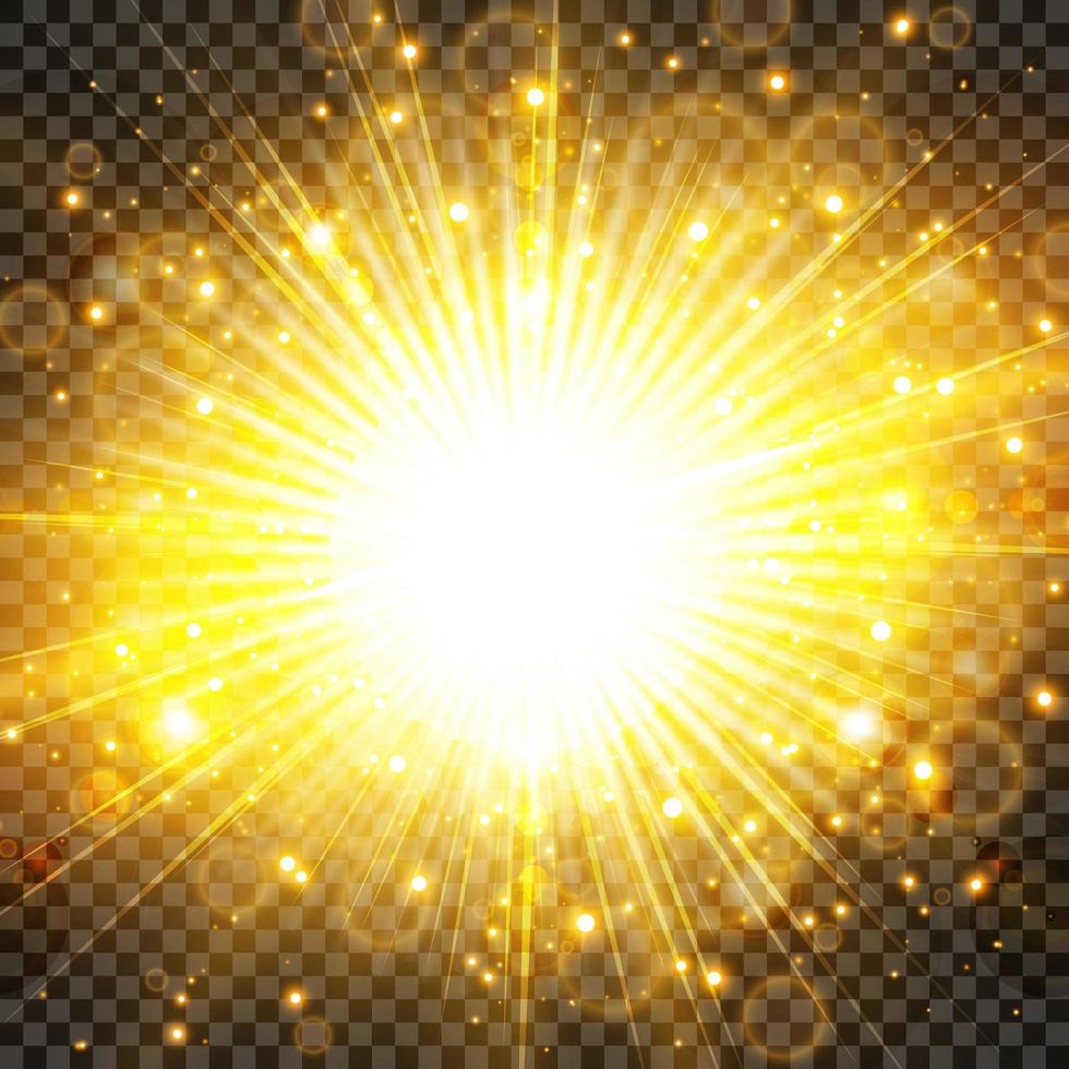 luz do sol e sunburst com brilho em fundo de transparência. vetor