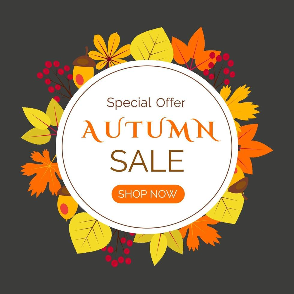 banner de venda de outono com folhas laranja e amarelas vetor