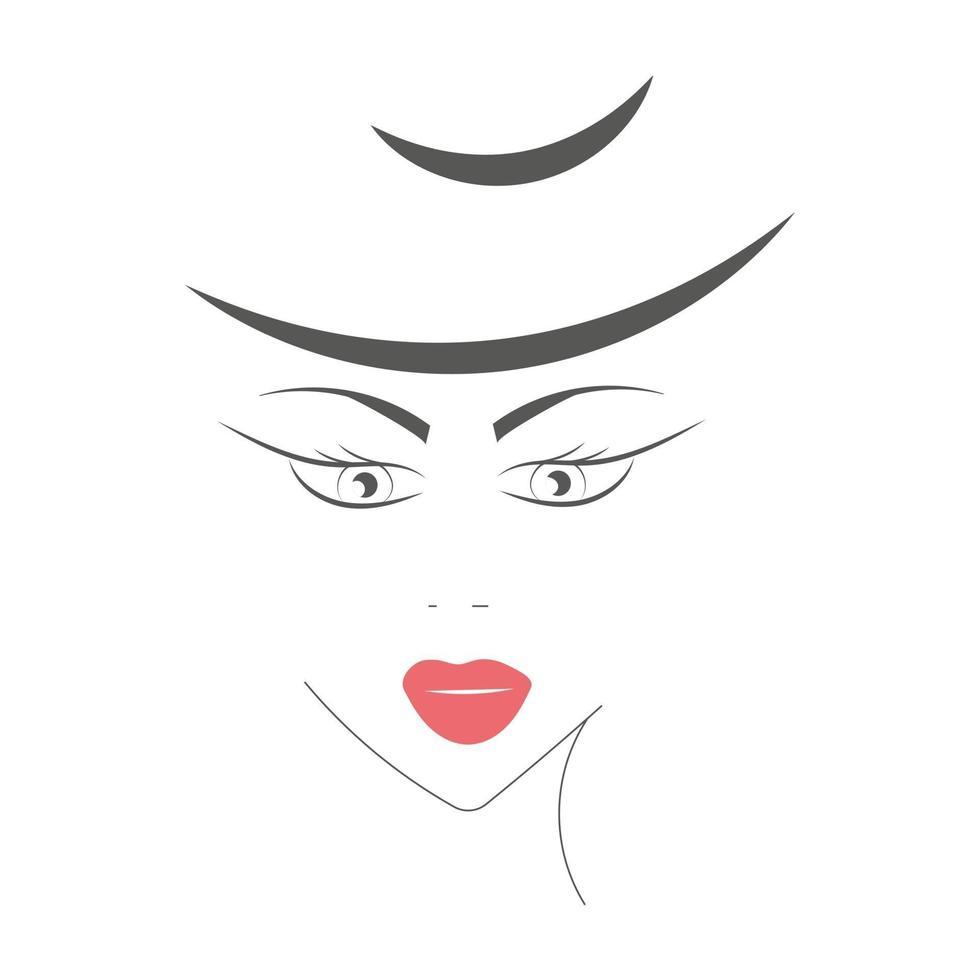 bela jovem com lábios vermelhos e chapéu vetor