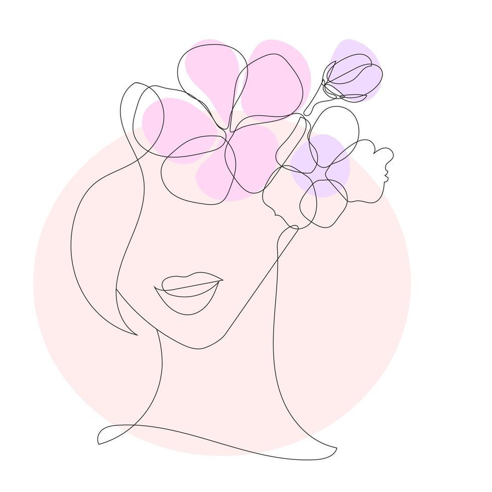 rosto estilizado de uma mulher no estilo de uma linha vetor