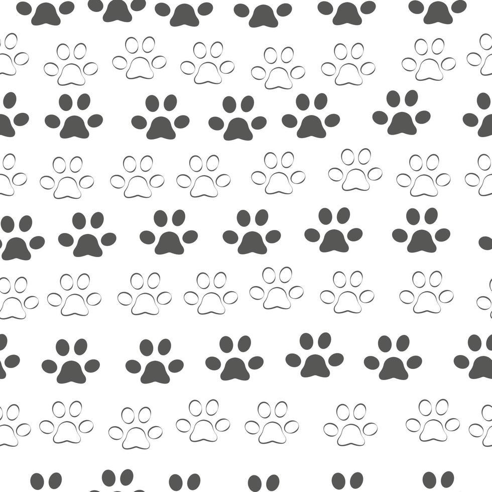 padrão sem emenda da pata do gato, esboço do esboço imprimir vetor