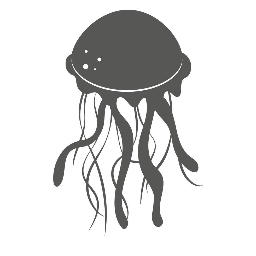 silhueta negra de medusa isolada no branco vetor