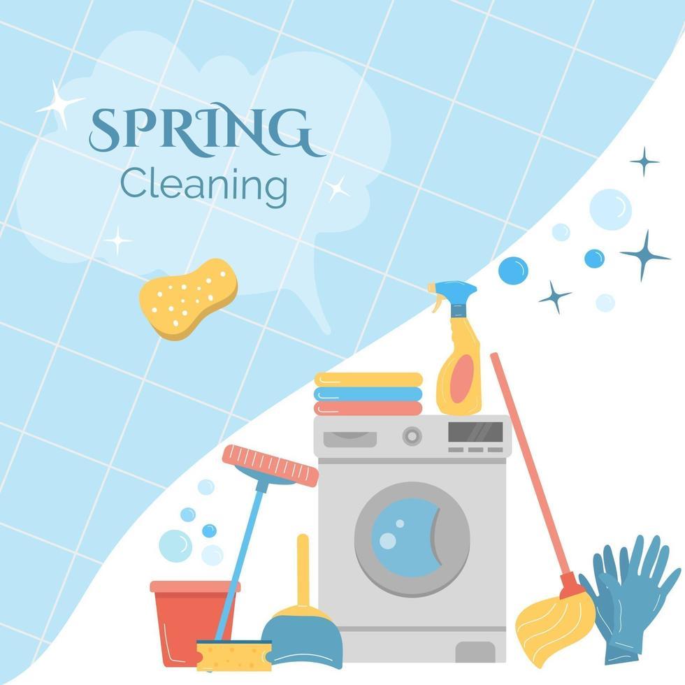 banner com material para limpeza de primavera vetor