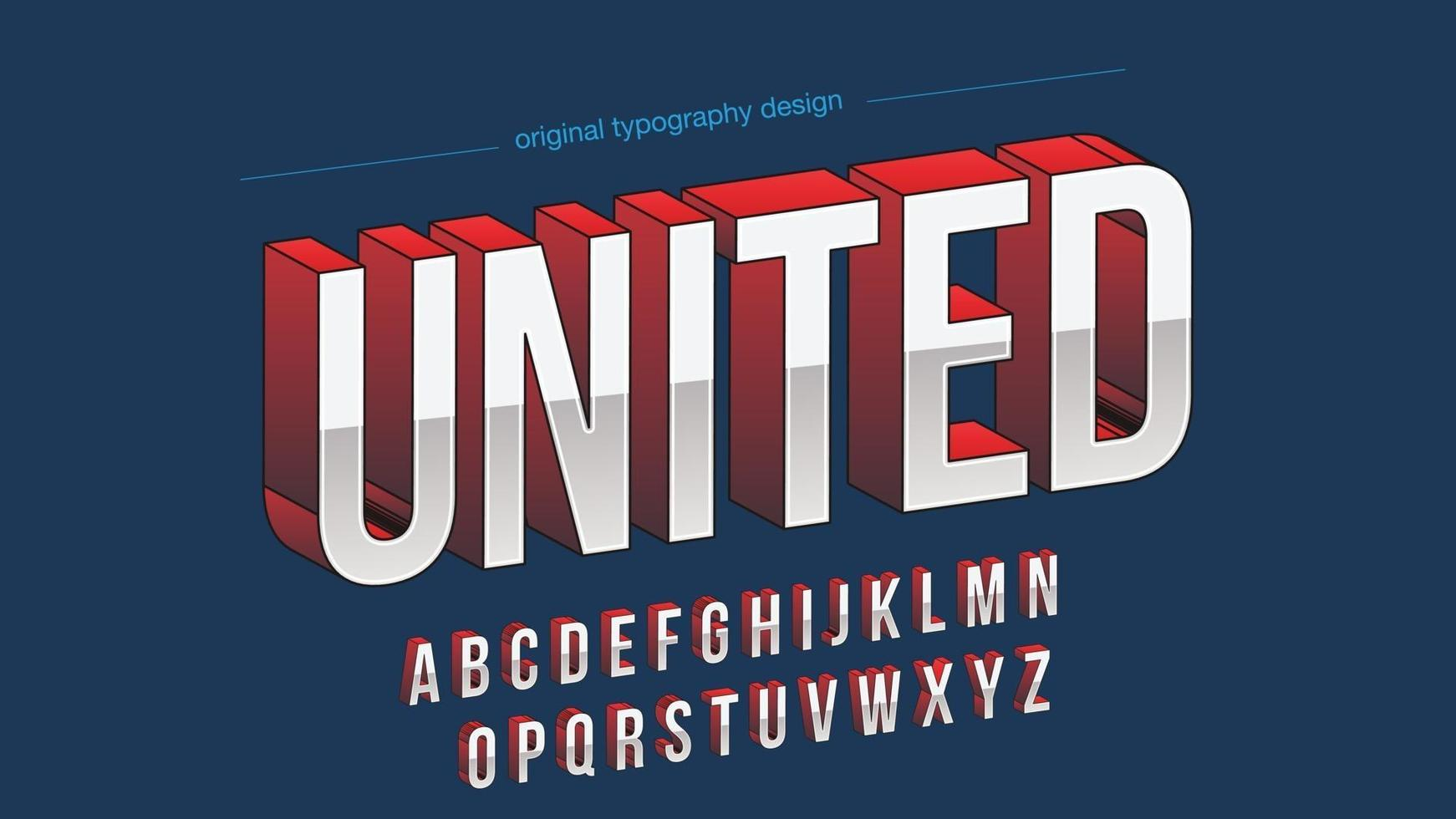 tipografia maiúscula em cromo e perspectiva vermelha vetor