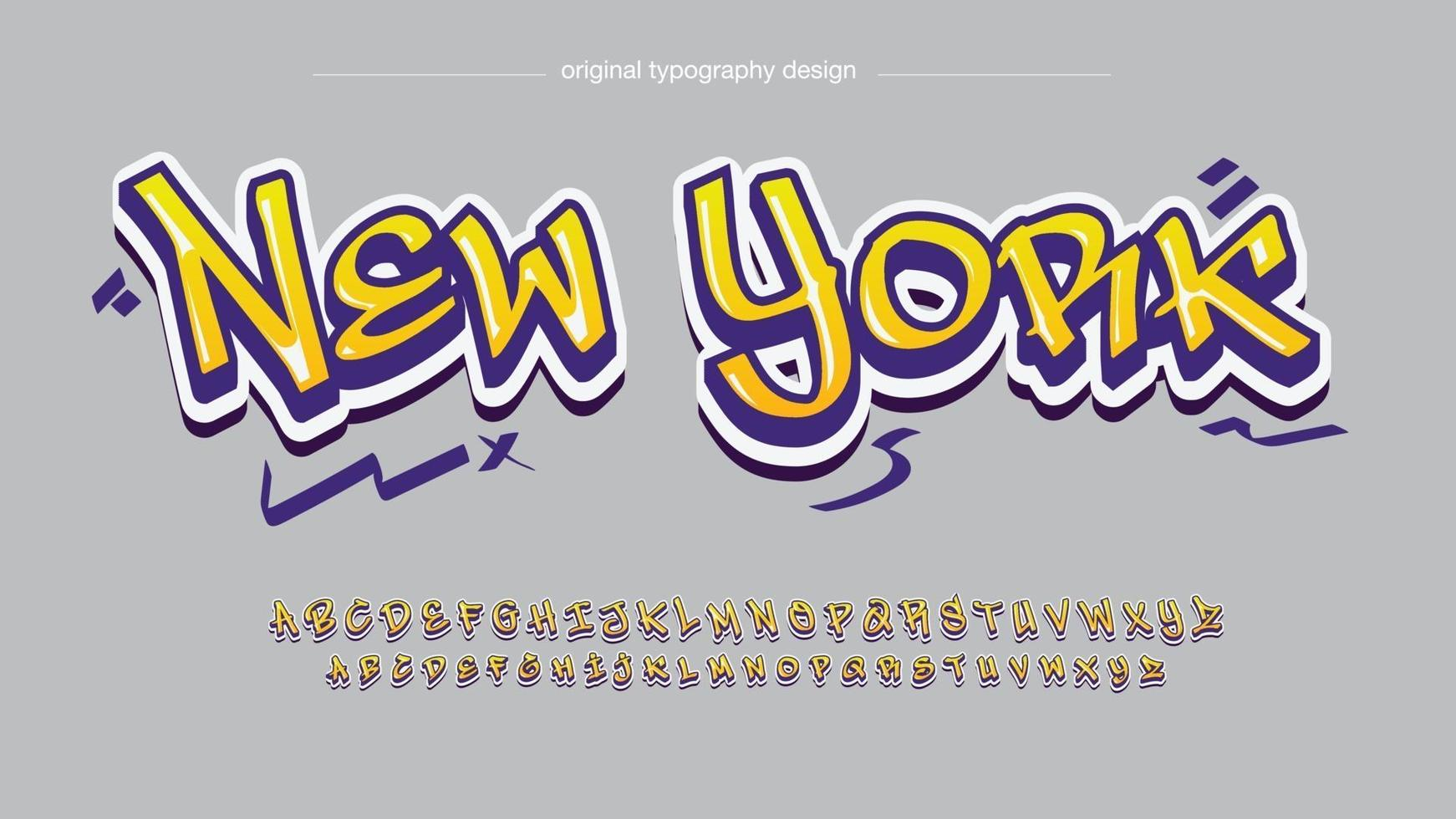 tipografia de pincel grafite moderno amarelo e roxo vetor