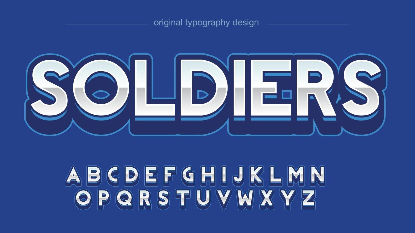 tipografia esportiva moderna azul metálico vetor