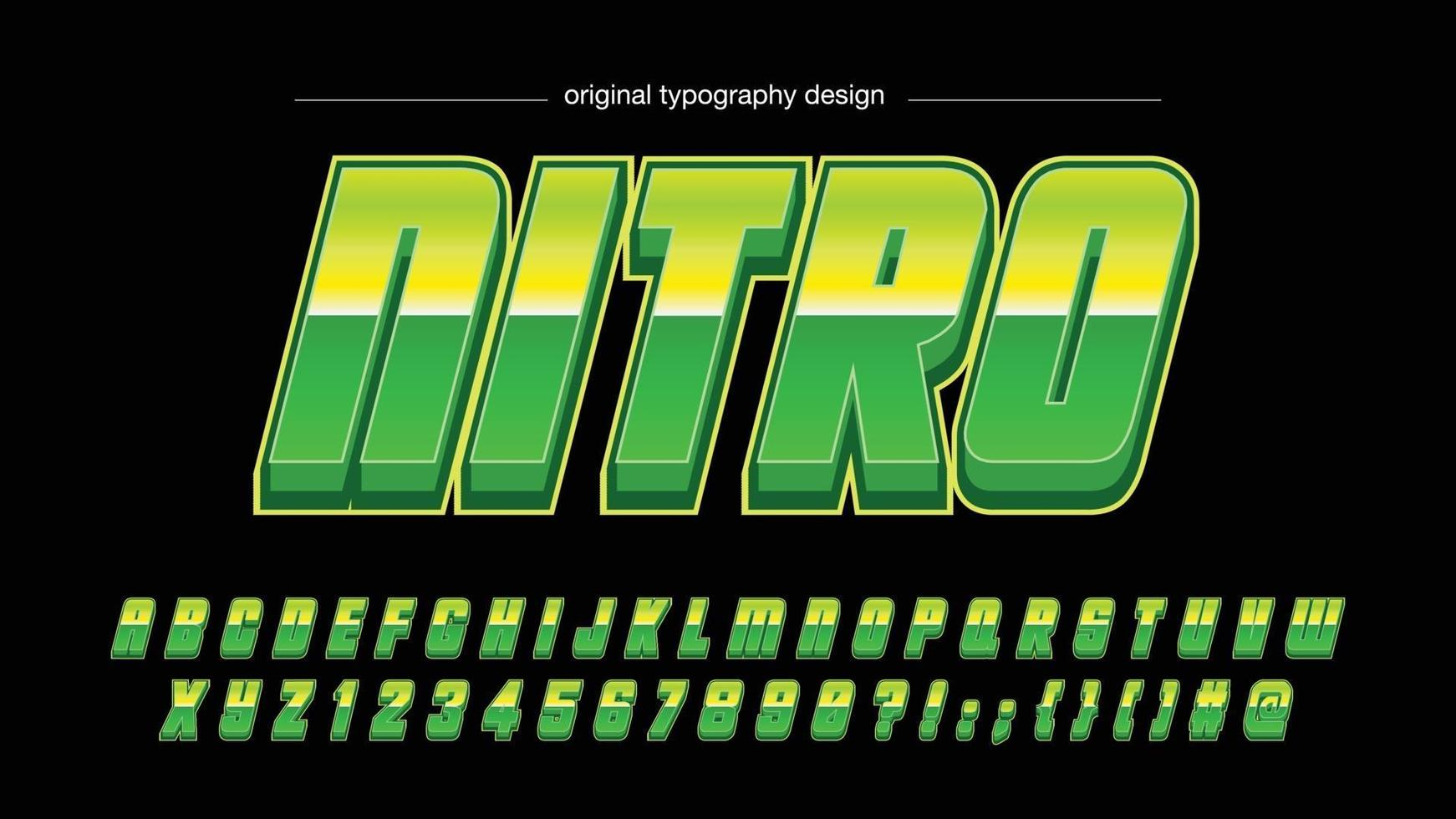 tipografia futurista metálica itálico verde vetor