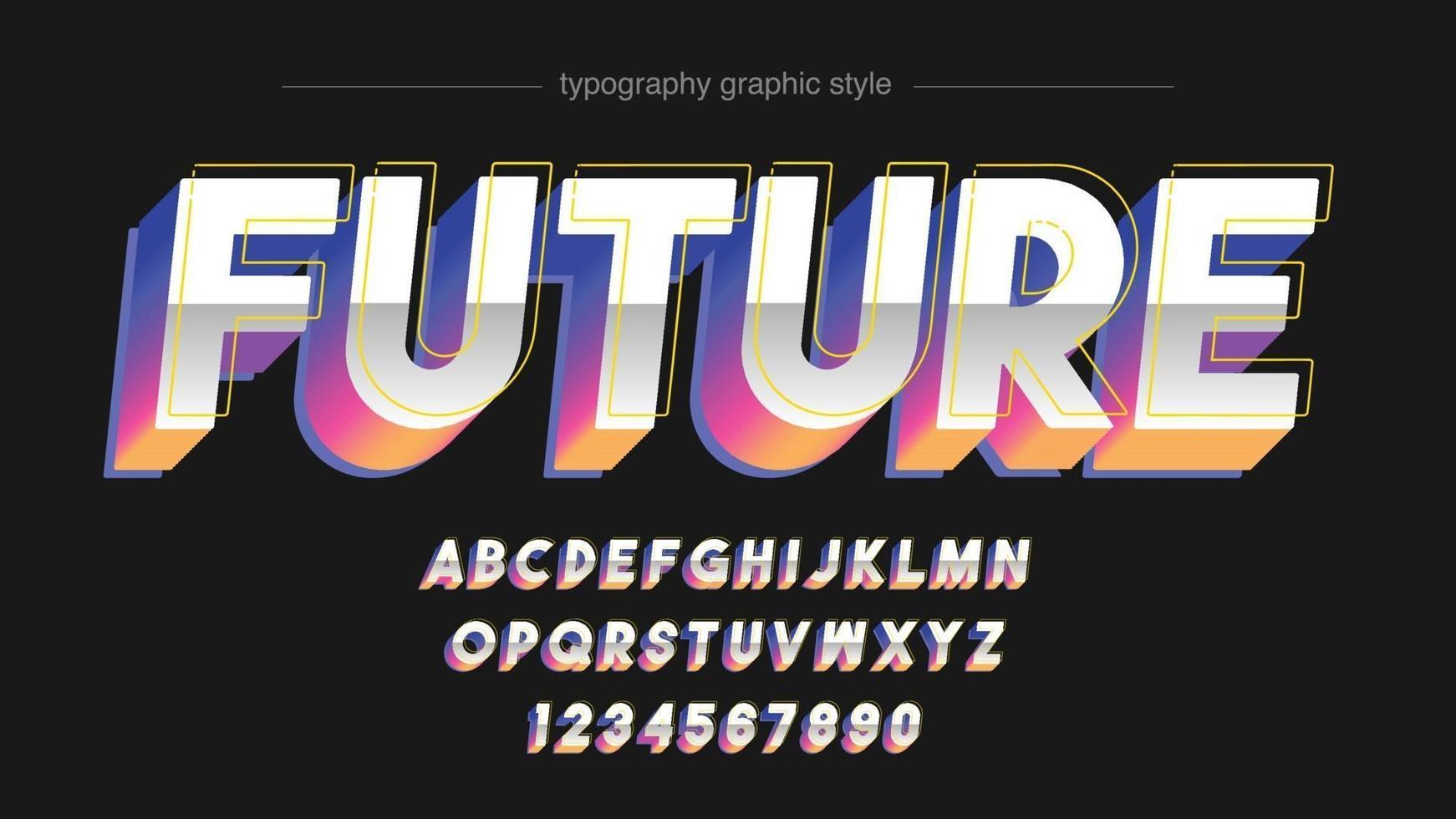 tipografia futurista colorida cromada vetor