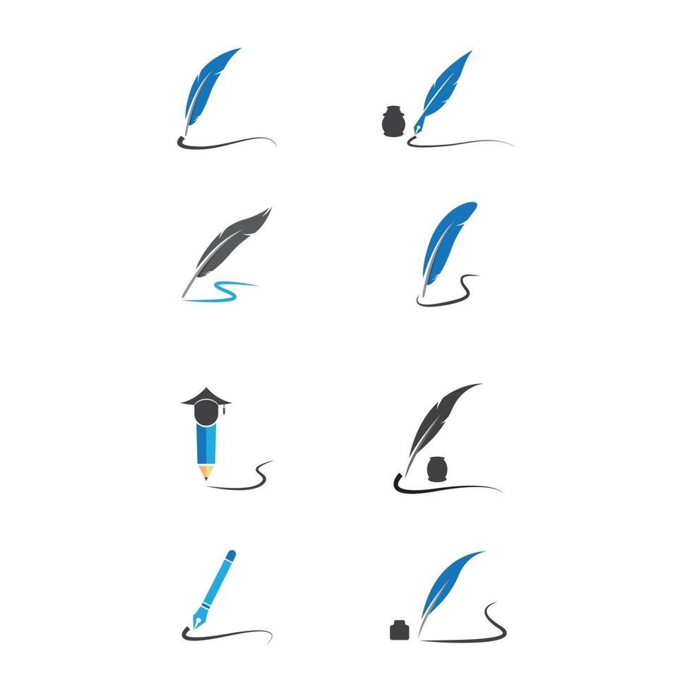 ilustração de imagens de logotipo de caneta de pena vetor
