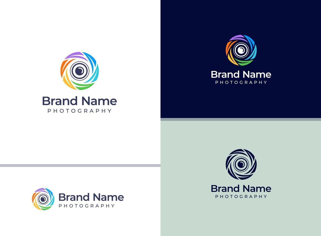 logotipo de câmera colorida criativa para estúdio fotográfico ou fotógrafo vetor