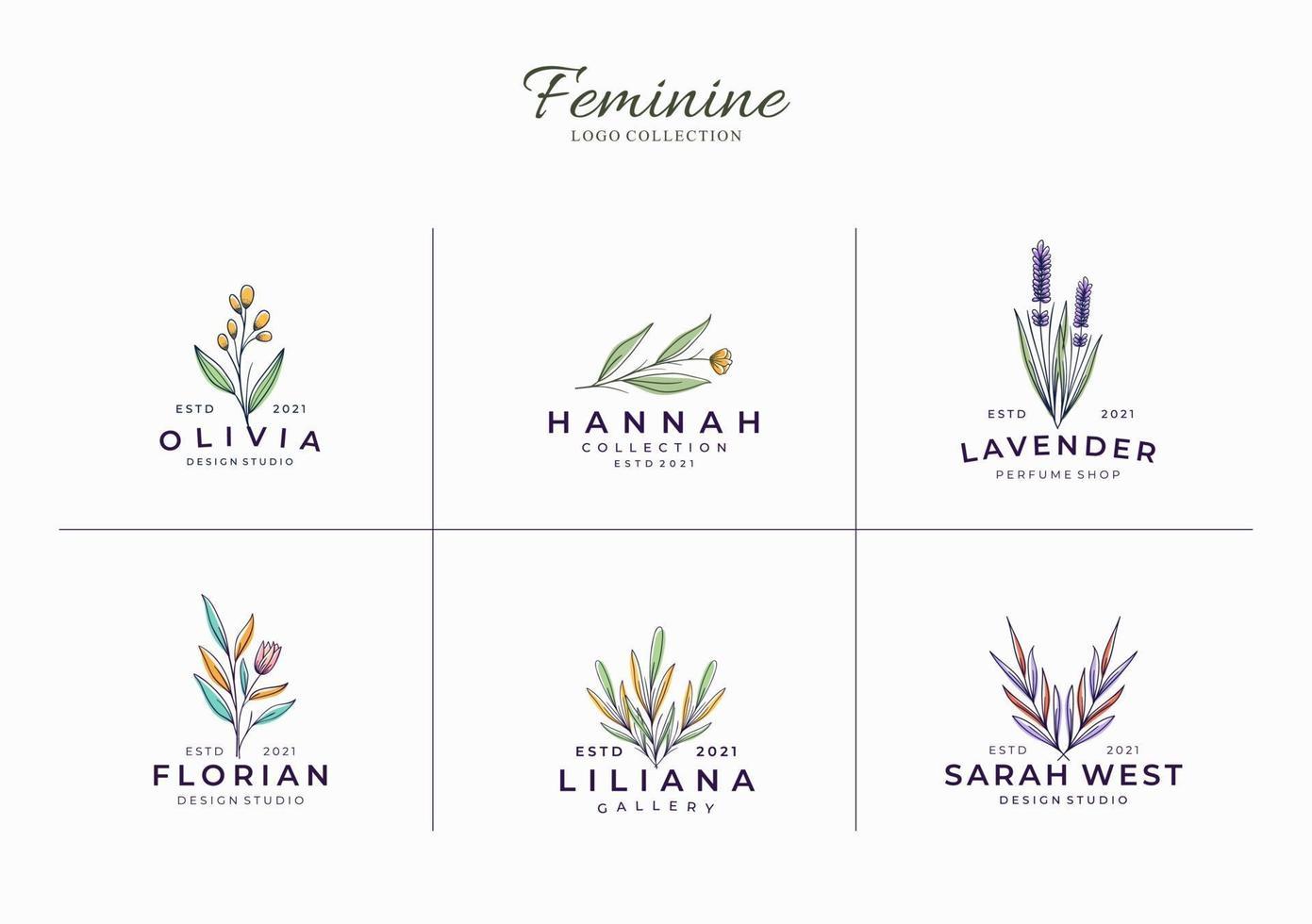 conjunto de modelo de logotipo botânico feminino minimalista e bonito vetor