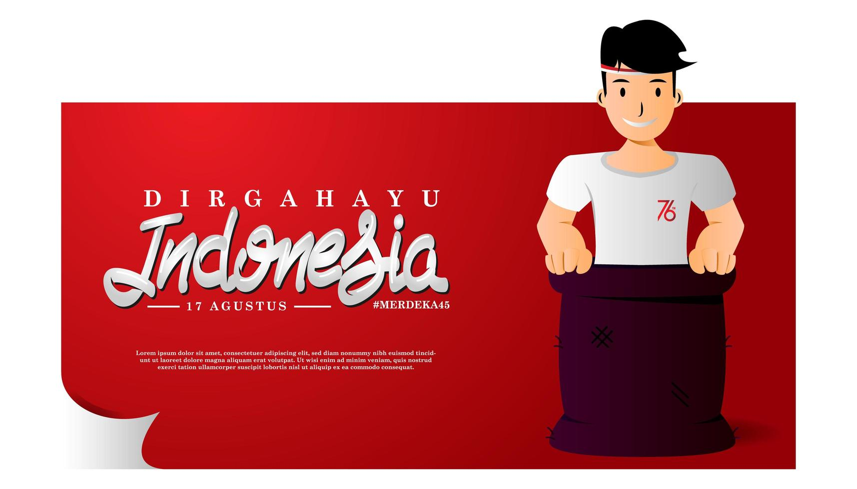 modelo criativo banner indonésia design do dia da independência vetor
