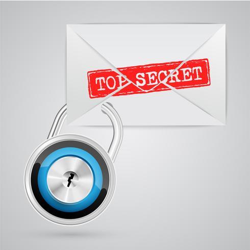 Um envelope com um sinal de aviso, vetor