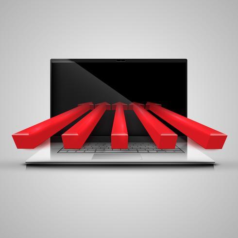 Caderno e setas vermelhas, vetor