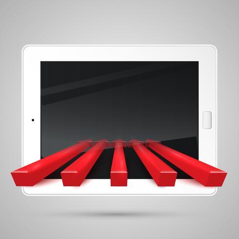Tablet e setas vermelhas, vetor