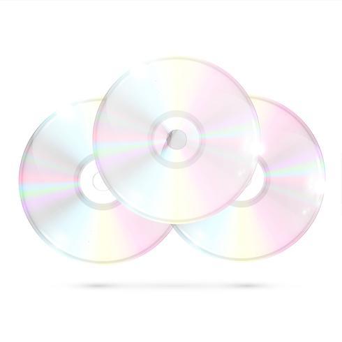 3 CDs / DVDs em fundo branco, ilustração vetorial vetor
