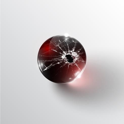 Esfera de vidro quebrado, vetor
