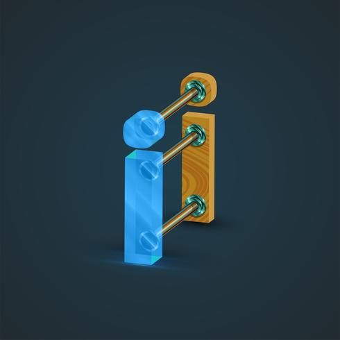 3D, realista de vidro e madeira personagem, vetor