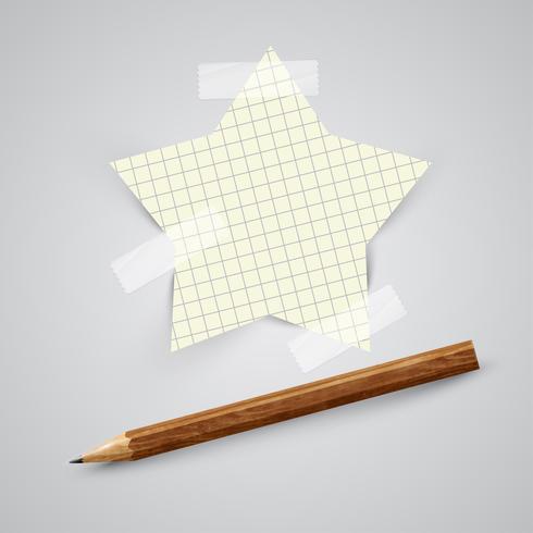 Um pedaço de papel com um lápis, vetor
