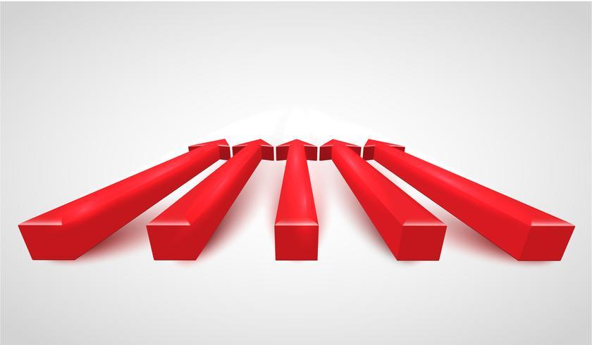 3D setas vermelhas realistas, vetor