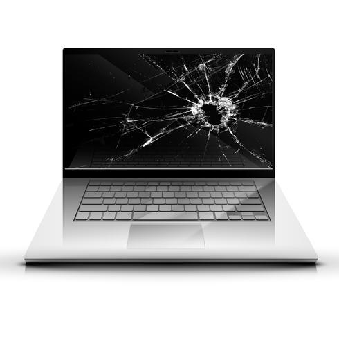 Tela quebrada de um laptop vetor