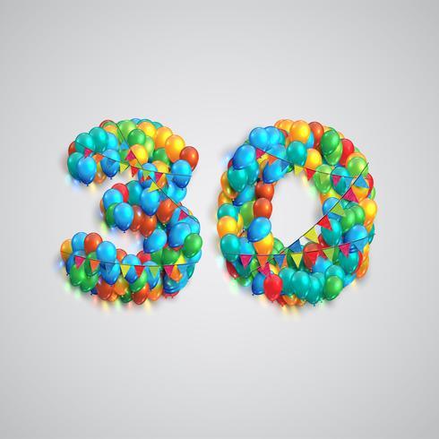 Número feito por balões coloridos, vetor