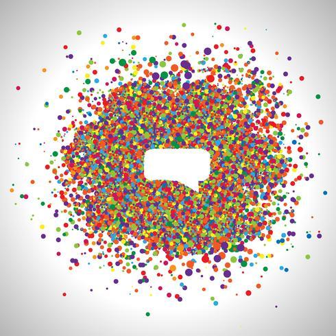 Bolha do discurso feita por pontos coloridos, vetor