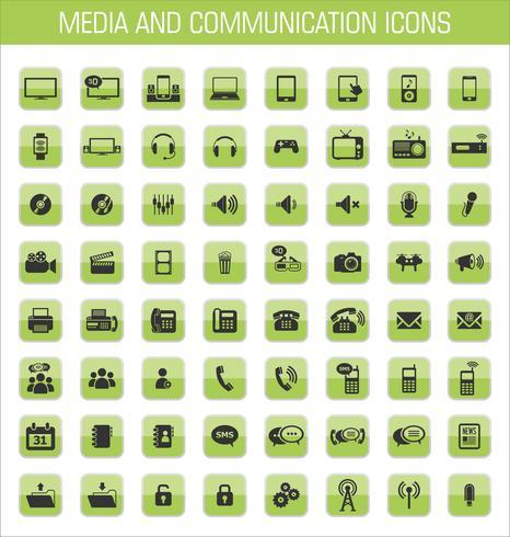 Ícones de mídia e comunicação vetor