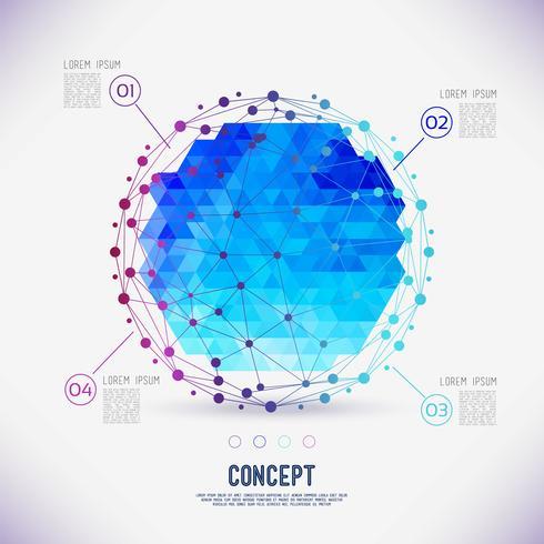 Malha geométrica do conceito abstrato, o espaço das moléculas no círculo. vetor