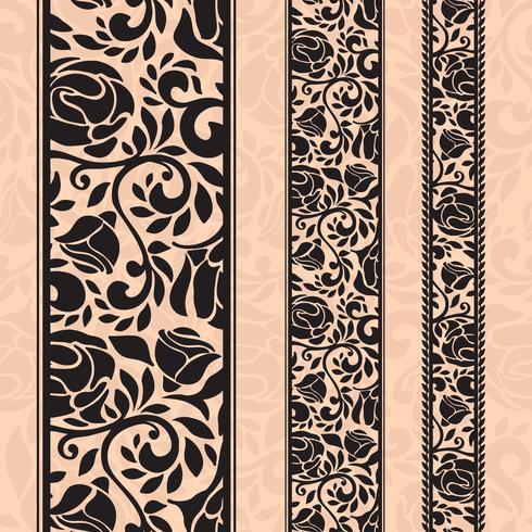 Padrões decorativos sem costura vintage em forma de tiras. vetor