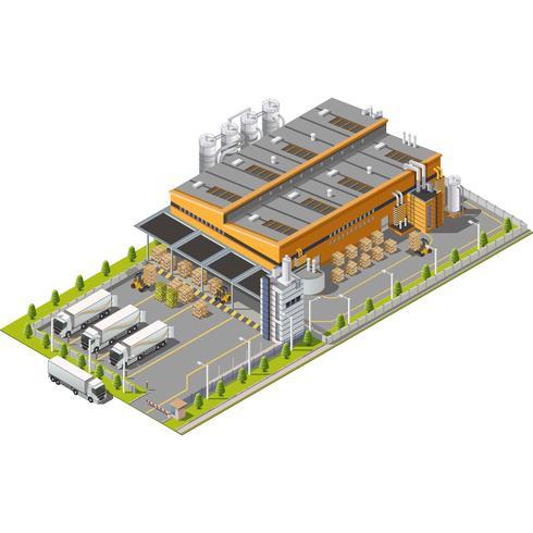 Armazém Área industrial com assentos para carga e descarga vetor