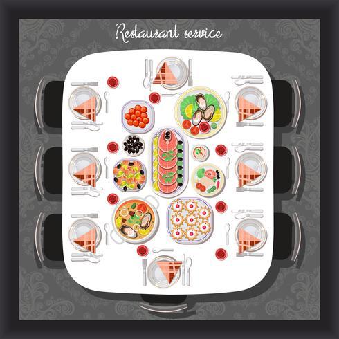 Buffet de refeições servidas para receber convidados no restaurante, café, vista superior. vetor