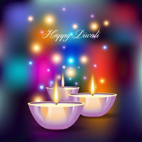 Ilustração em vetor de diya ardente no feriado de Diwali