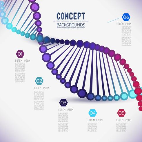DNA de estrutura geométrica cor abstrata, o escopo de moléculas vetor