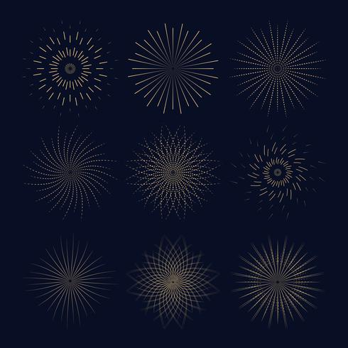 Nove vintage sunbusrt. Coleção Light Ray para o seu. vetor